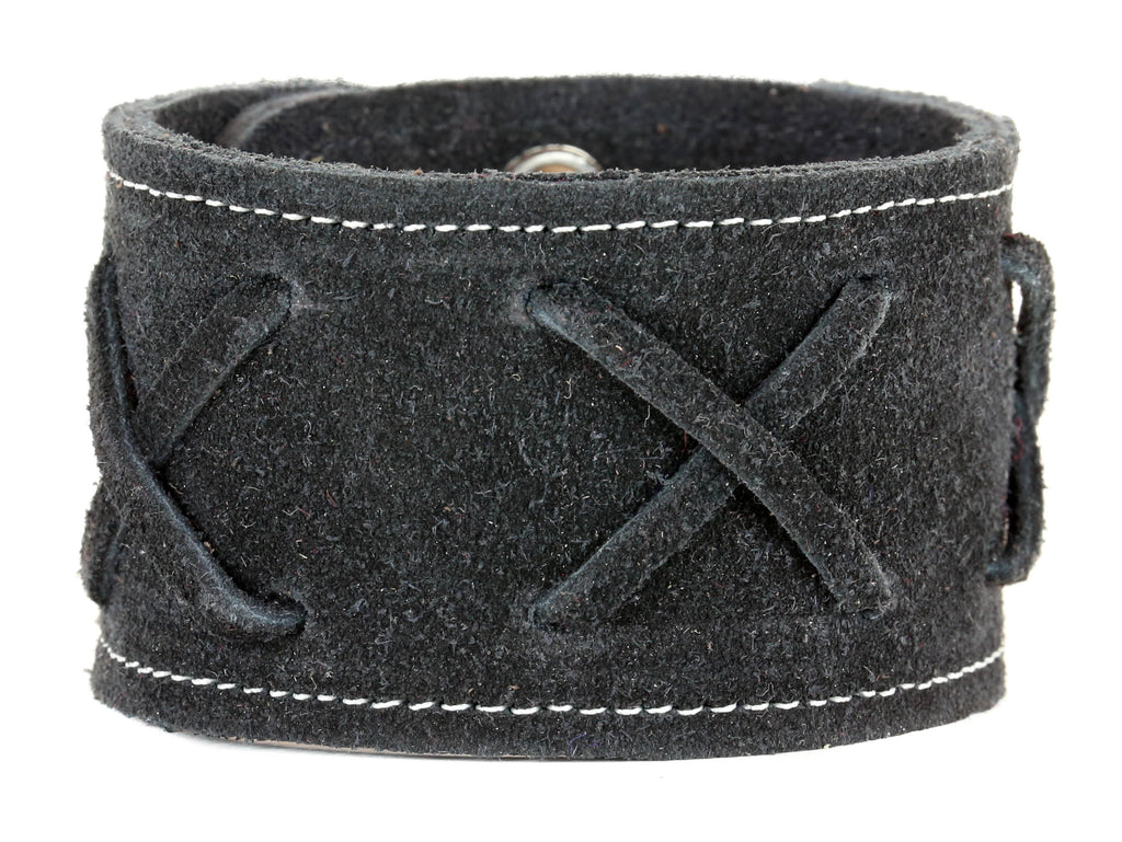 "3 LACE CROSS LEATHER BRACELET, 1 3/4"" WIDE"