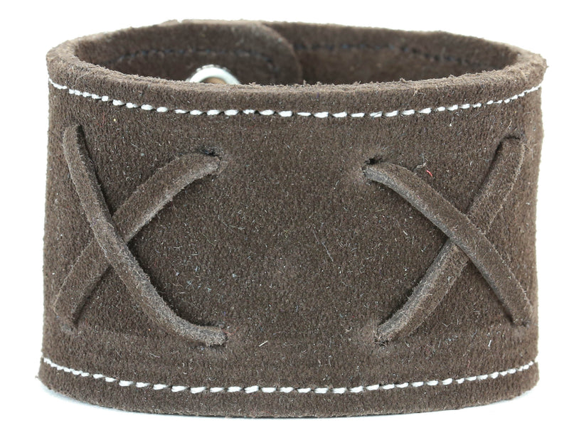 "3 LACE CROSS LEATHER BRACELET, 1 3/4"" WIDE BROWN"