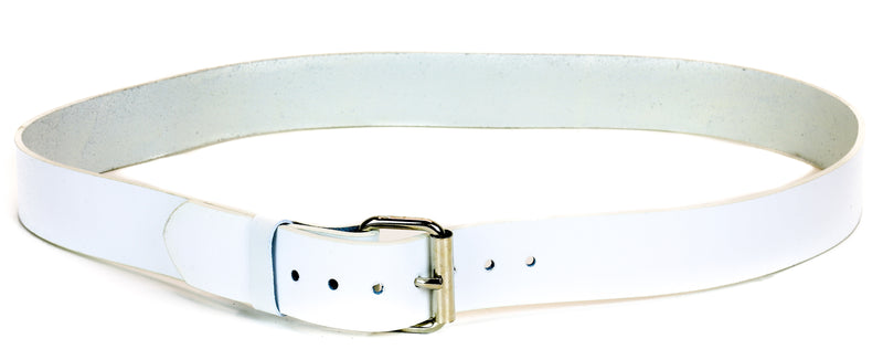 "Genuine White Leather Dress Casual Jean Belt  1 1/2"" Width Roller Buckle"