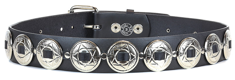 Large Oval Concho Heavy Duty Black Leather Belt
