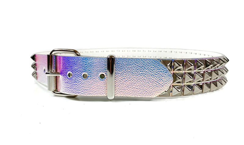 Rainbow  Blue Holographic Rave Studded Belt