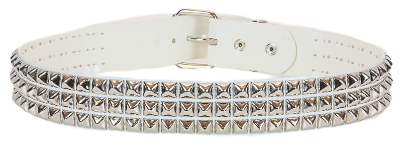 White Vinyl Black 3 Row Studded Punk Influenced Belt By Funk Plus