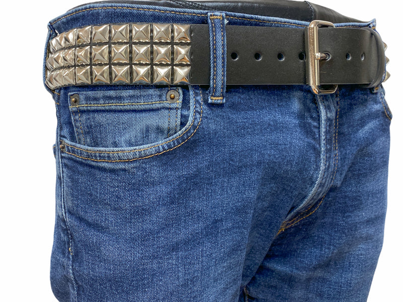 3 Row Studded USA Leather Belt Premium Quality