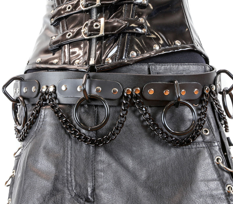 Large Black Ring Hanging Chain Bondage Wide Belt Genuine Leather