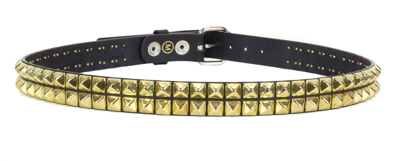 2 Row Brass Studded Punk Influenced Belt By Funk Plus