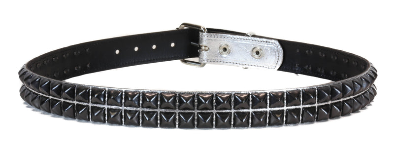 Silver Patent 2 Row Studded Punk Influenced Belt By Funk Plus