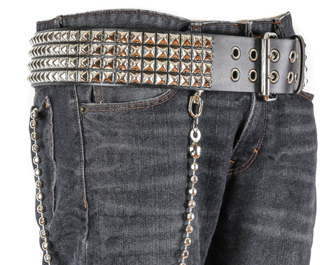 Four Row Pyramid Studded Studded Heavy Duty Black Leather Belt