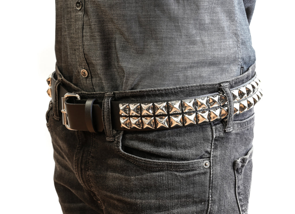 Two Row Pyramid Studded Heavy Duty Black Leather Belt With Chains