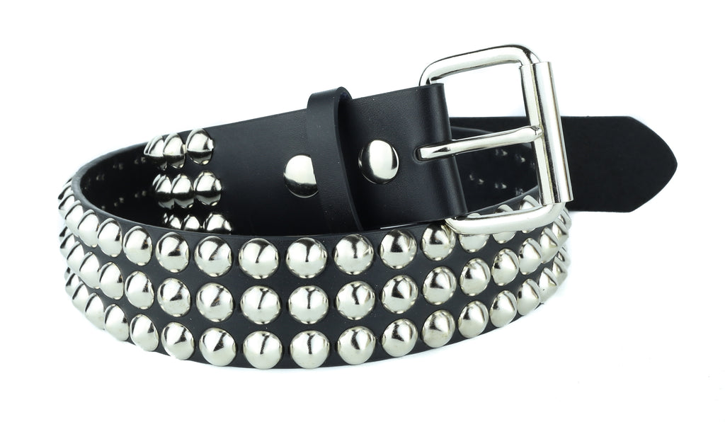 Three Row Pyramid Studded Heavy Duty Black Leather Belt