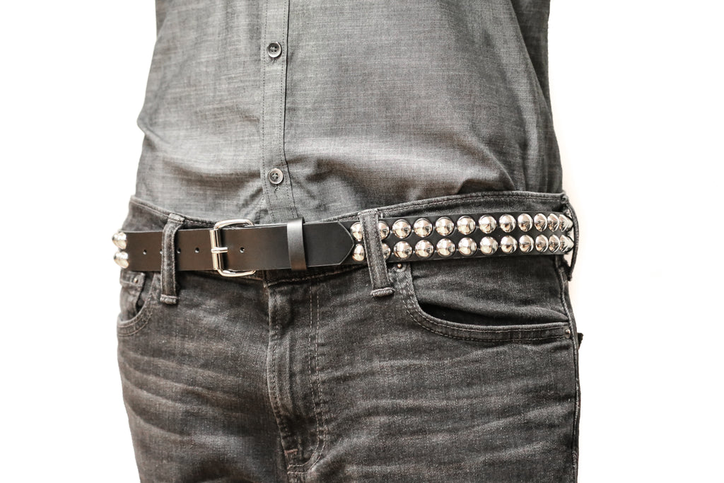 Two Row Conical Studded Heavy Duty Black Leather Belt