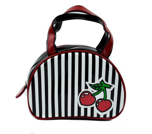 Black And White Striped Cherry Handbag