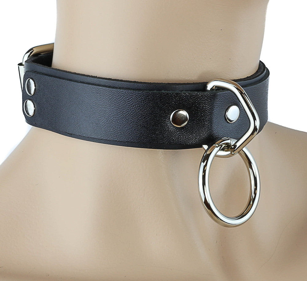 Bondage Leather Choker With Silver O Ring