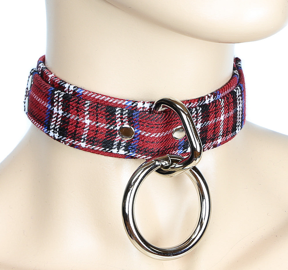 Bondage Fabric Choker With Large Silver O Ring