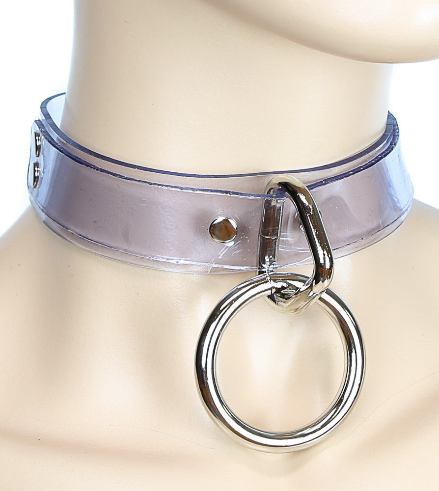 Bondage Clear Choker with Large Silver O Ring