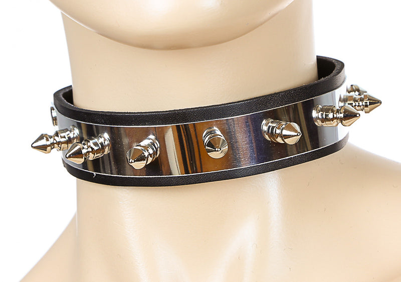 Single Spiked Gold Banded Black Leather Choker