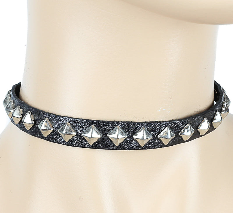 Silver Studded Black Leather Choker