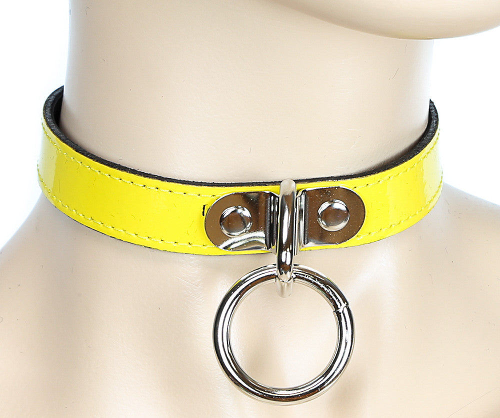 Bondage Thin Yellow Leather Choker with Silver O Ring