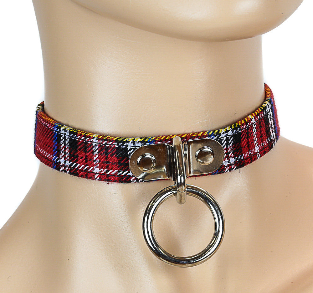 Bondage Thin Plaid Fabric Choker with Silver O Ring