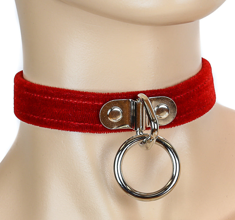 Bondage Thin Red Velvet Choker with Silver O Ring