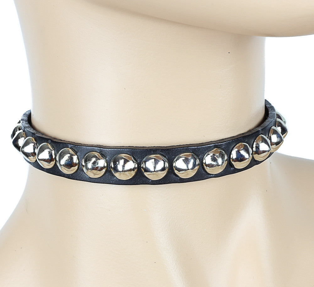 Simple Black Leather Choker With Rounded Studs