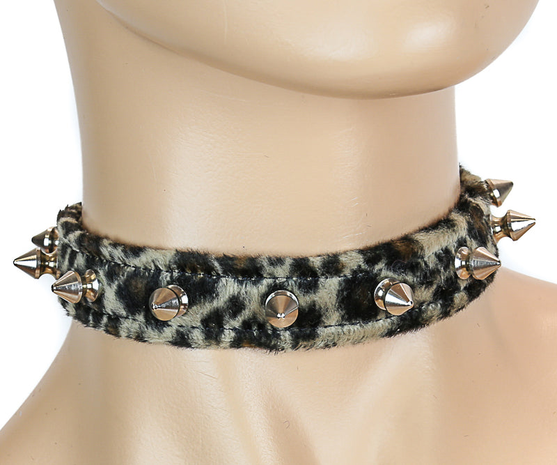 Leopard Animal Spike Choker