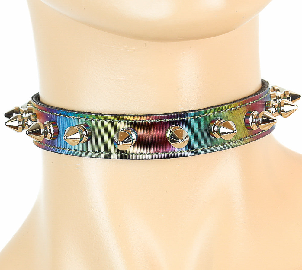 Mini-Spiked Holographic Rainbow Choker