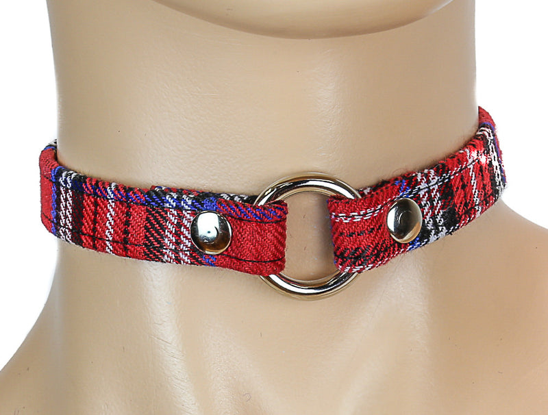 Bondage Thin Red Plaid O Ring Choker