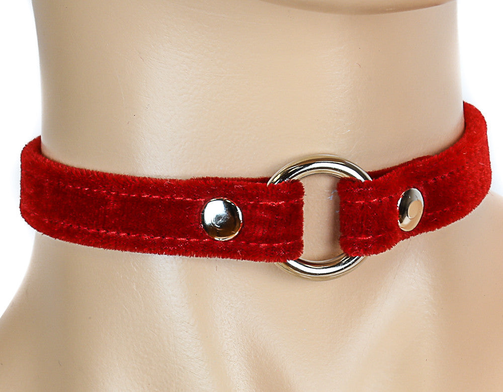 Bondage Red Velvet O Ring Choker
