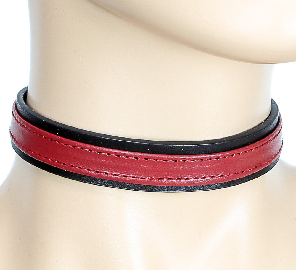 Simple Red and Black Bondage Choker