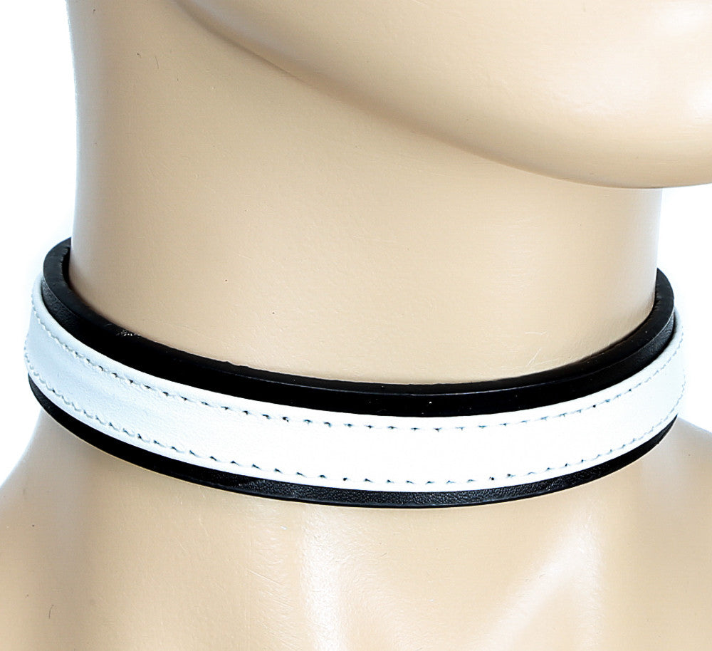 Simple White and Black Bondage Choker