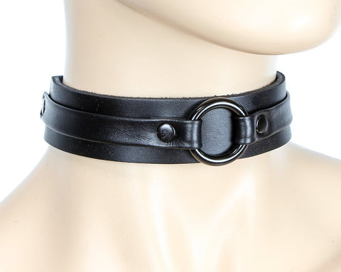 Black Bondage Choker with Black Ring Connection