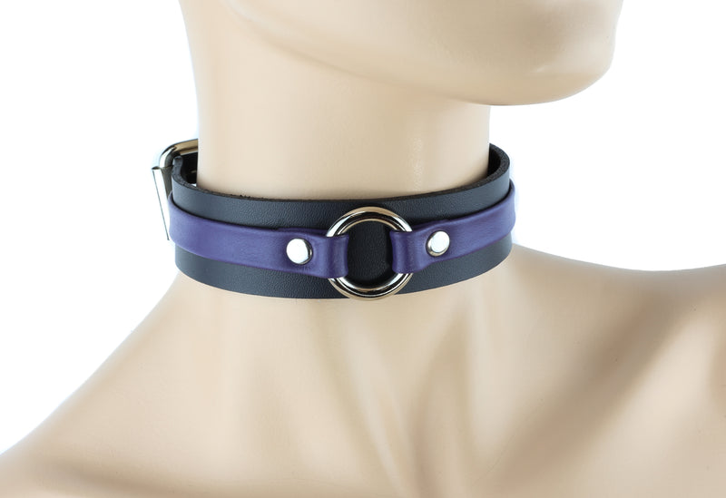 Purple-banded Bondage Choker with Silver Ring