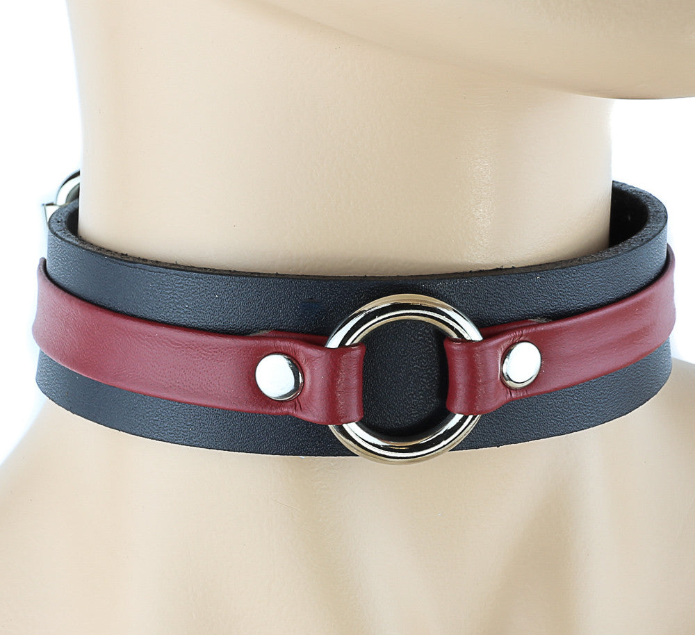 Red-banded Bondage Choker with Silver Ring