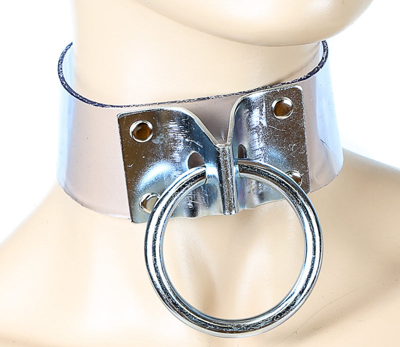 Bondage Clear Door-Knocker Choker With Large O Ring