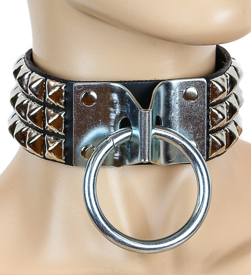 Bondage Gold-Studded Black Leather Door-Knocker Choker With Large O Ring