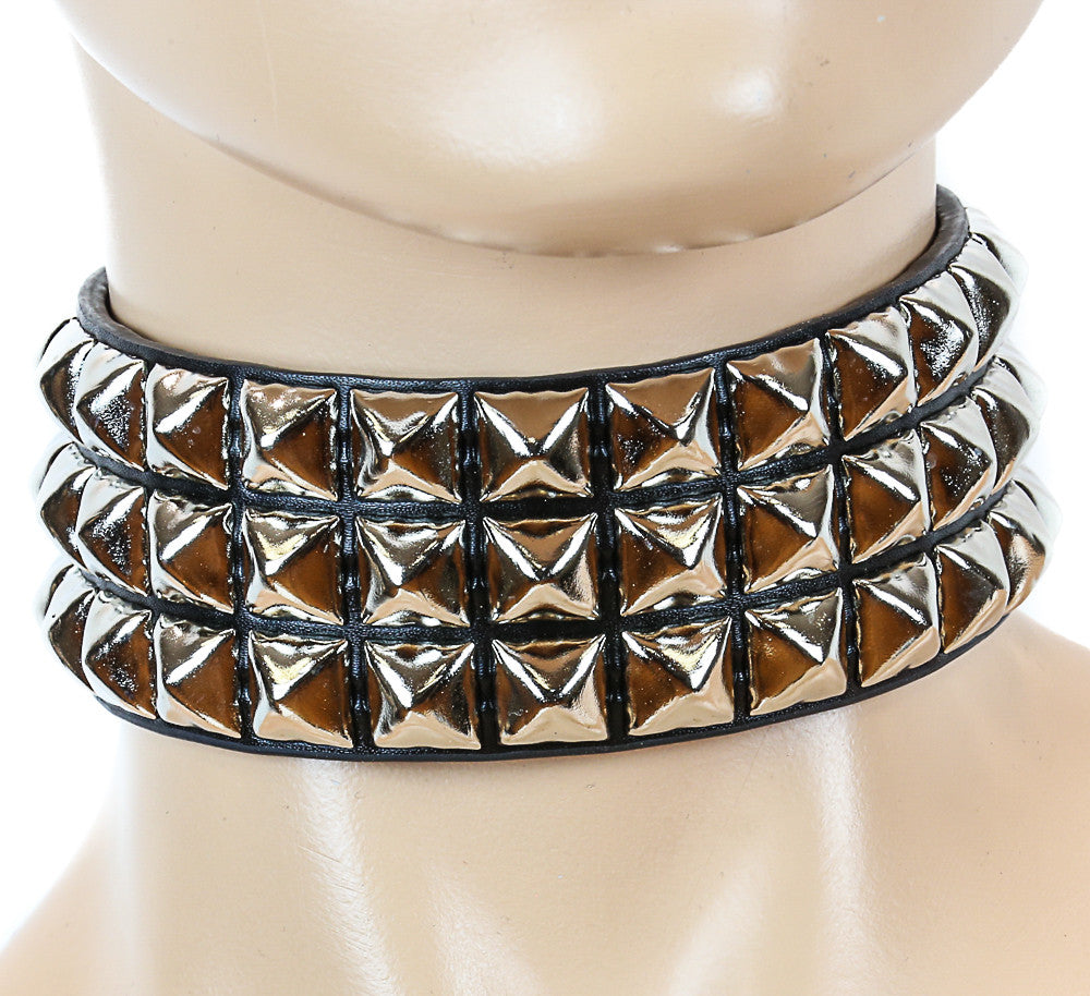 Triple Pyramid Studded Black Bondage Choker