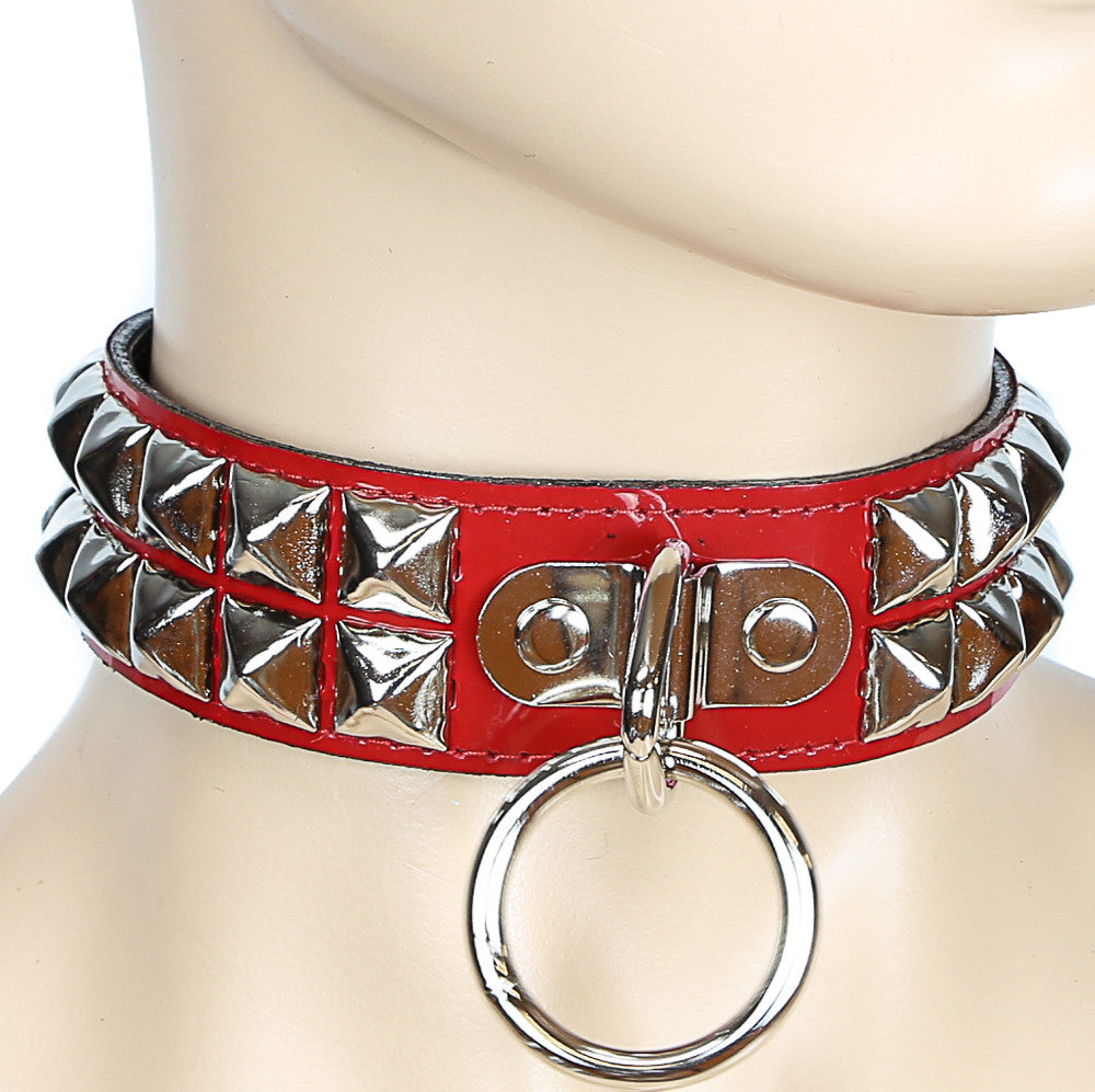 Bondage Gold-Studded Red Leather Choker With Large O Ring