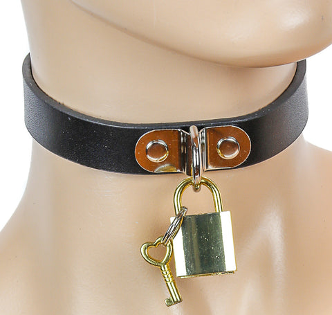 Black Bondage Choker with Hanging Lock and Key