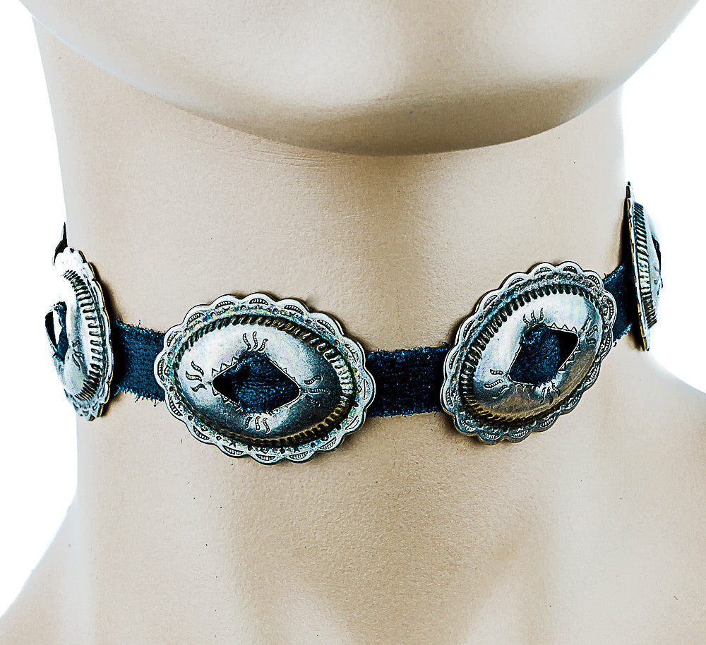 Black Choker with Western Oval Conchos
