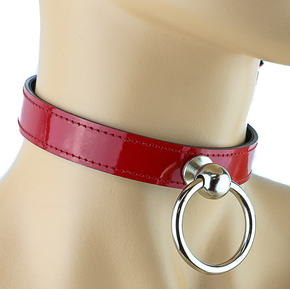 Bondage Simple Red Choker With Small Door-Knocker O Ring