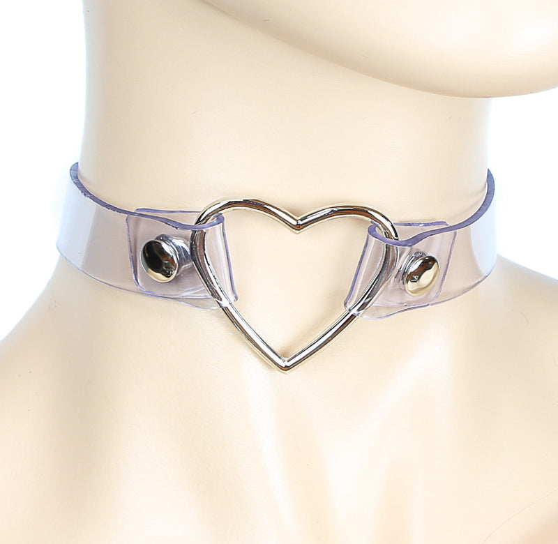 Clear See-Through Choker with Heart-Shaped Ring