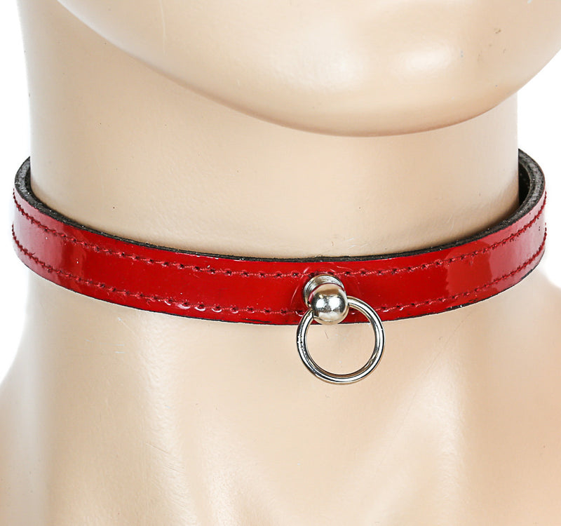 Bondage Thin Red Leather Choker With Small Silver O Ring