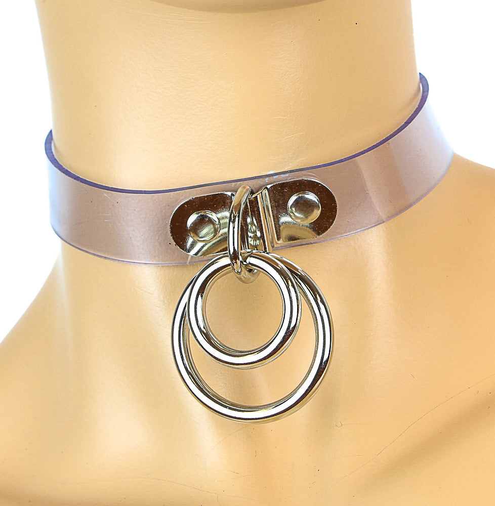 Bondage Clear Choker With Double O Rings