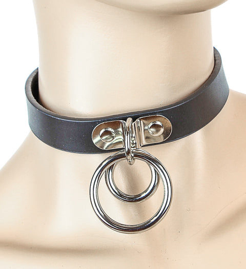 Bondage Black Leather Choker With Double O Rings