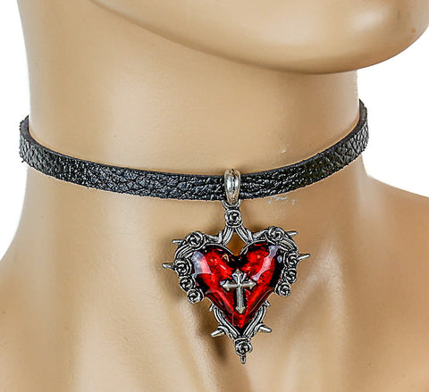 Black Leather Choker with Hanging Red Heart Charm and Cross