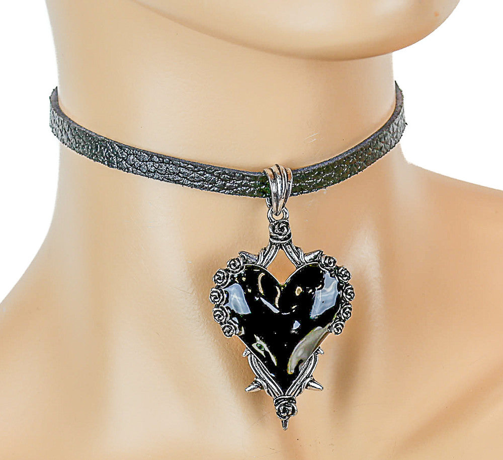 Black Leather Choker with Hanging Heart Charm