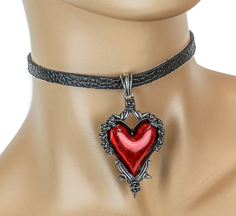 Black Leather Choker with Hanging Red Heart Charm