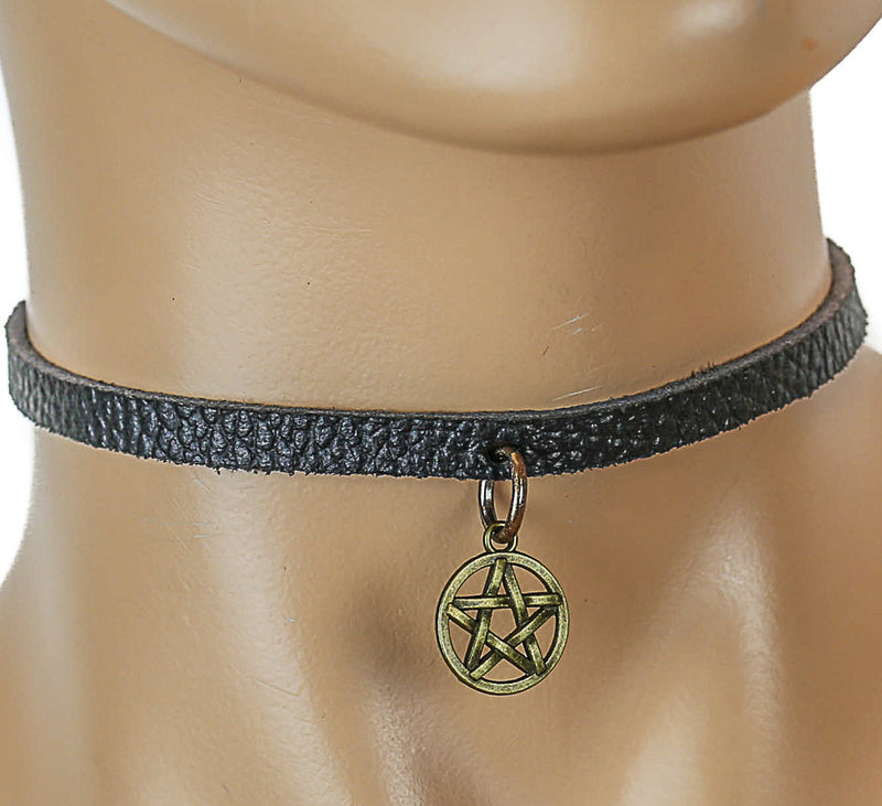 Black Leather Choker with Gold-Colored Hanging Satanic Symbol Charm