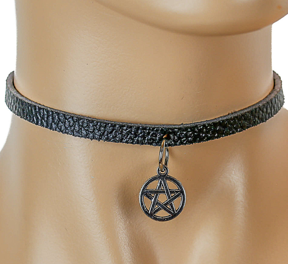 Black Leather Choker with Silver-Colored Hanging Satanic Symbol Charm