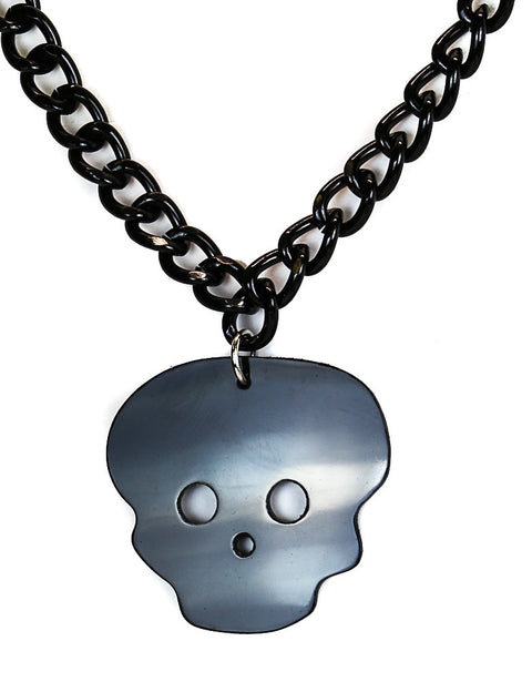 Ball Chain Necklace With Gothic Skull